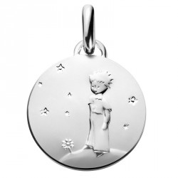 Silver baptism medal The Little Prince on his planet - 14mm