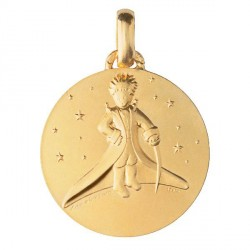 Baptism gold medal The Little Prince in the stars - 18mm